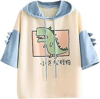 Xmiral Korte Mouw Hoodie voor Vrouwen Leuke Dinosaurus Shirt Dier Print Cartoon Dier T Shirt Zomer Tops