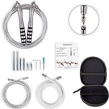 Verzwaarde Springtouw 6 Extra Gewichten en 3-speed Crossrope Kabels Zelfborgende Verstelbare Professionele Springtouw voor...