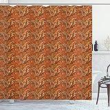 ABAKUHAUS Orange Duschvorhang, Traditionelle alte Paisley, Set inkl.12 Haken aus Stoff Wasserdicht Bakterie & Schimmel Abweichent, 175 x 240 cm, Orange olivgrün Redwood
