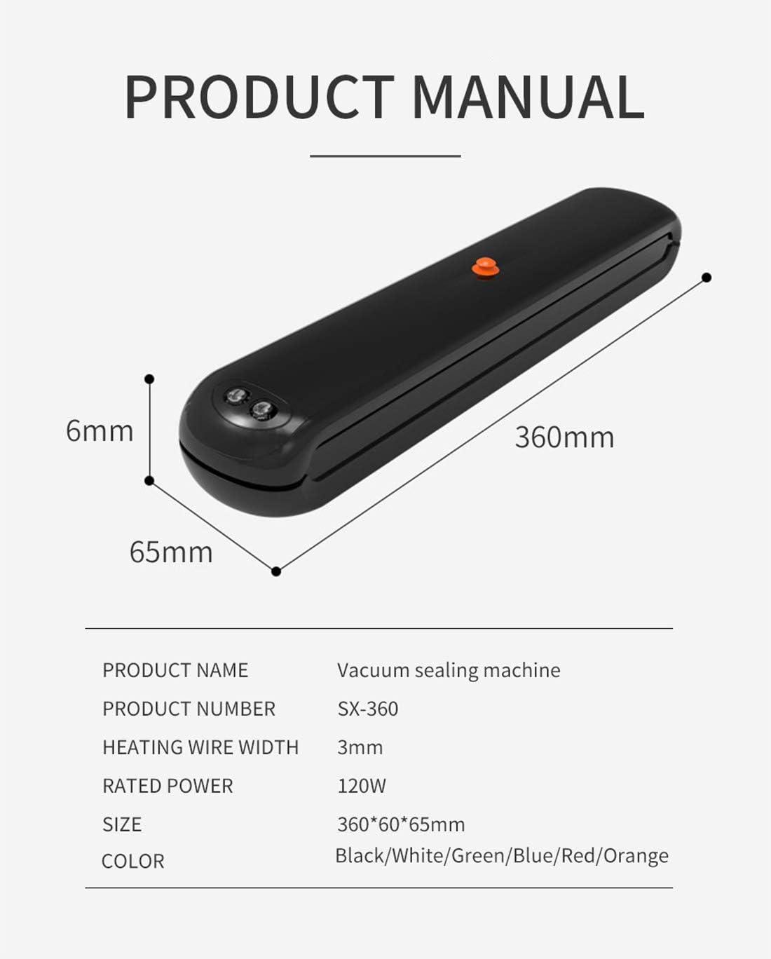 Vacuümverpakkingsmachine Voor Voedsel Met 10 Stuks Zakken Gratis +1 Rol (17 * 500Cm) Vacuüm Sluitmachine Voor Vacuümverpakkingsmachine,Orange Red