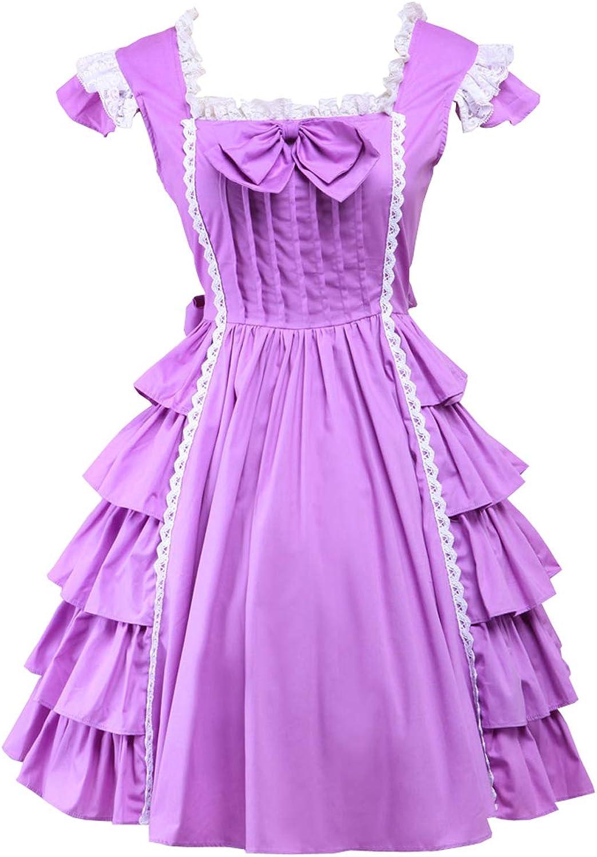 Antaina Purple Cotton Ruffle Lace Bow Sweet Victorian Lolita Cosplay Dress