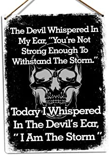 PotteLove I Am The Storm -Metal Wall Sign Plaque Art-Devil Skull Inspirational Strong