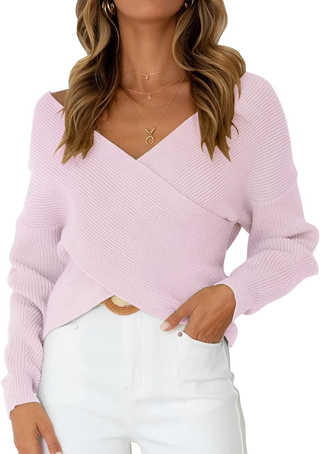 ZCSIA Women's Long Sleeve Wrap V Neck Cross Front Solid Color Casual Loose Knitted Pullover Sweater