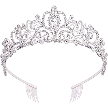 Didder Silver Crystal Tiara Crowns For Women Girls Princess Elegant Crown with Combs Women's Headbands Bridal Wedding Prom Birthday Party Headbands for Women