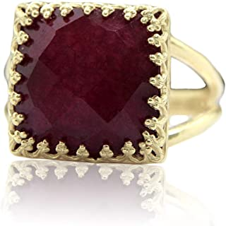 Anemone Jewelry 4CT Ruby Ring - Elegant Gold Ring Jewelry For Everyday Use - Stylish Unique Ring For Women [Handmade]