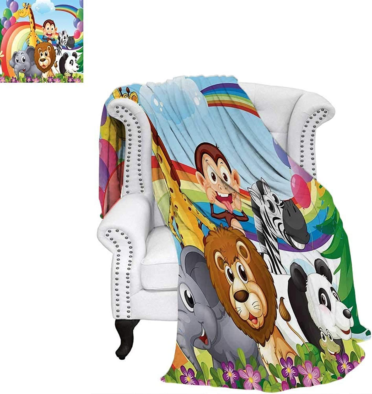 CHASOEA Nursery Travel Throw Blanket Group of Animals at The Hilltop with a Rainbow and Balloons Fresh Garden Happy Velvet Plush Throw Blanket 62 x60  Multicolor