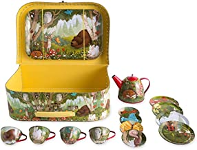 HearthSong Woodland Tin Tea Set 15-Piece Lidded Teapot 4 Plates 4 Cups & Saucers Serving Tray Carry Case Kids Toys Imaginative Play Child Party