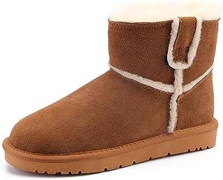 [GoldFlame-JP] スノーブーツ ムートンブーツ レディース カワイイ ショート あったか ファー キュート 防寒 保温 滑らない 防滑 安全 通勤通学 雪対応 美脚 冬用 スエード 雪靴 ブラック グレイ ブラウン ムートンブーツ