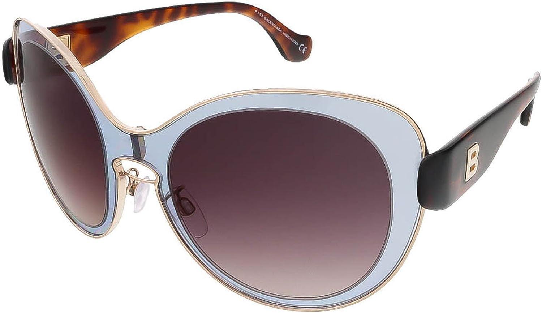 Balenciaga Ba000220T Women's Oversized Translucent Light bluee & goldTone Sunglasses