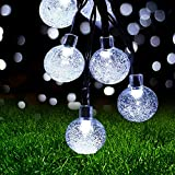 Guirnaldas Luces Exterior Solar,Ovker 10.8m 60 LED Cadena de Bola Cristal Luz IP65 Lmpermeable,Guirnalda Solar LED Bola de...