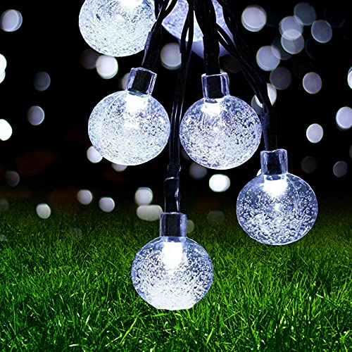 Guirnaldas Luces Exterior Solar, Ovker 10.8m 60 LED Cadena de Bola Cristal Luz IP65 Lmpermeable, Guirnalda Solar LED Bola de Cristal Luces Decoracion para Navidad, Jardín, Arboles, Bodas(Blanco frio)