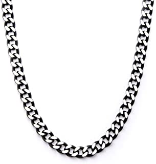 Tribal Hollywood Cutting Edge Black and Natural Steel Flat Edge Mens Curb Chain-22 Inches