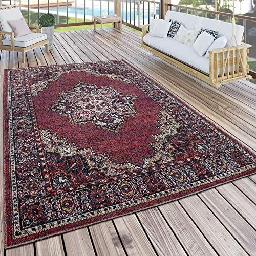 Paco Home In- & Outdoor Teppich Modern Vintage Look Terrassen Teppich Bunt, Grösse:80x150 cm
