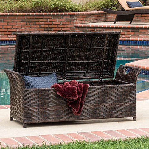 Christopher Knight Home Wing Outdoor Wicker Storage Bench with Cut-out Handles on Both Sides