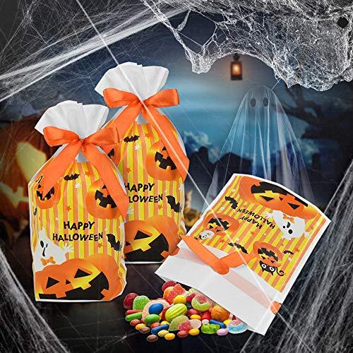 PERFETSELL 50 Pcs Bolsas de Dulces Halloween para Niños Bolsas para Chuches con Una Cuerda Bolsas de CumpleañosBolsas para Dulces Halloween Bolsa Chuches para La Dia de Muertos Halloween Cumpleaños