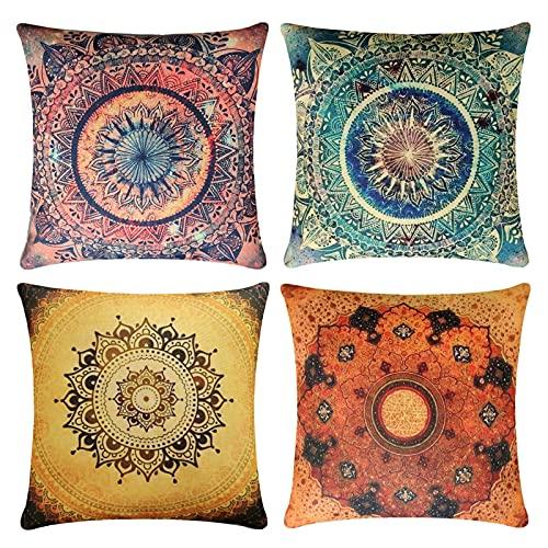 4 Pack Cuscini Divano colorato Boemia mandala Moderni Cotone Biancheria Decorativo Copricuscini Divano 45x45 cm