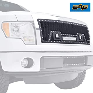 EAG Rivet Stainless Steel Wire Mesh Grille with LED Lights Fit for 09-14 Ford F-150