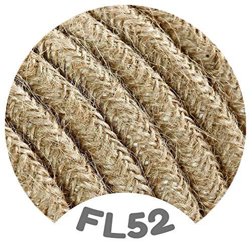 Flairlux Textilkabel für Lampe jute 3 Meter 3 adrig Stoffkabel (3x0,75mm²) - FL52