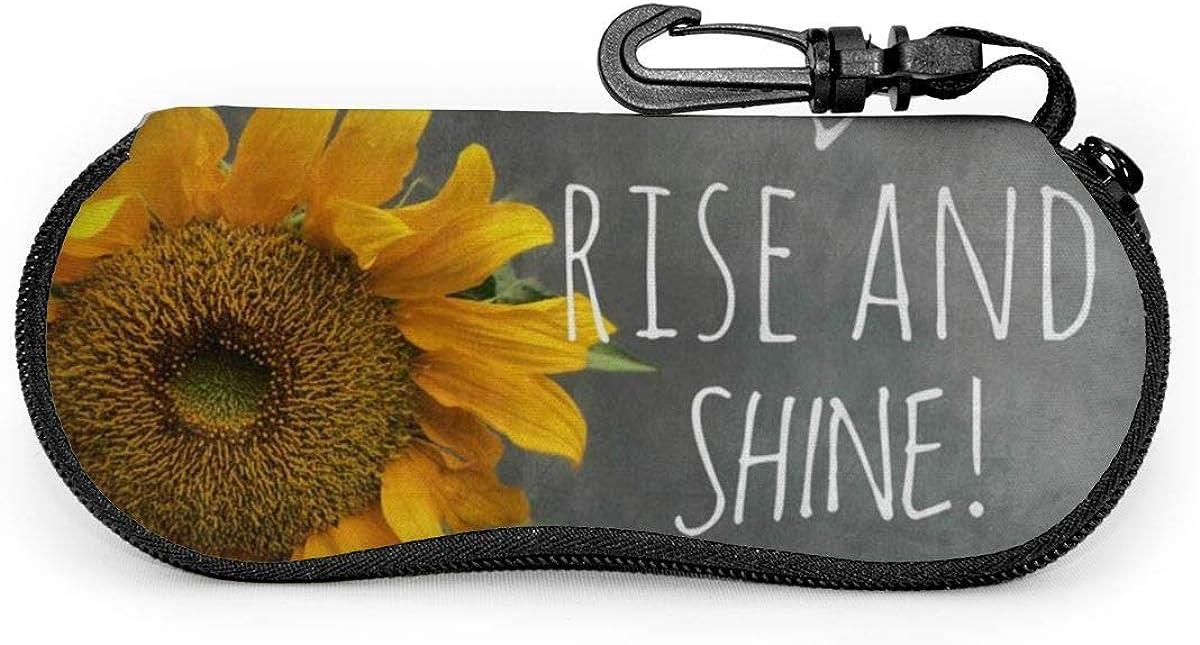 Sunflower Rise Shine Sunglasses Soft Case Ultra Light Neoprene Zipper Eyeglass Case With Key Chain
