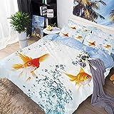 Juego de sábanas Juego de funda nórdica de 3 piezas Juego de cama, bajo el tema del acuario Lindos peces dorados nadadores con imagen de burbujas vívidas, 100% microfibra súper suave, transpirable, az