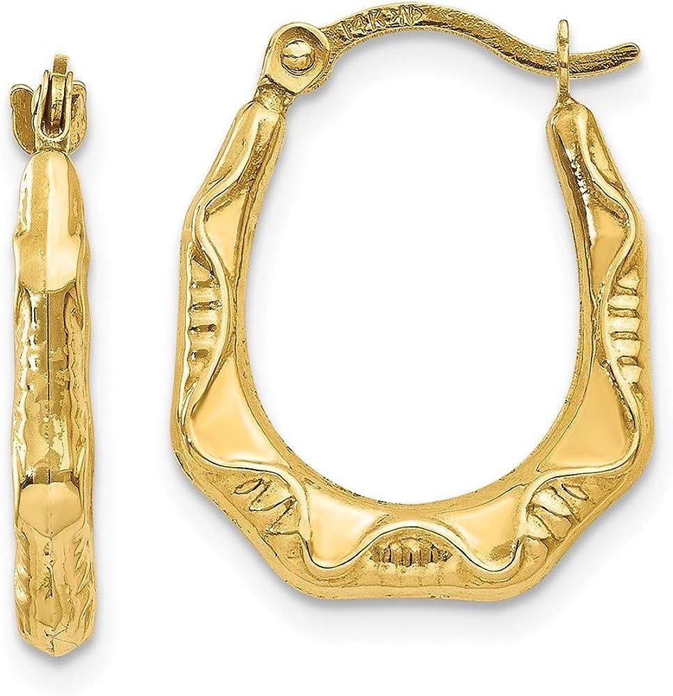 14k Yellow Gold Oval Hoop Earrings Ear Hoops Set Fine Jewelry For Women Gifts For Her