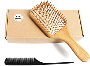 Hairbrush, Wooden Bamboo Hair Brush For Women Men, Thick Thin Curly Hair, Detangling Massaging, Premium Paddle, Pins and R...