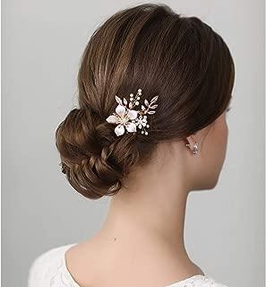 SWEETV Gold Bridal Hair Clip,Floral Bridal Hair Comb Barrette Flower Hair pieces for Brides Wedding