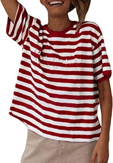 S-Fly Women's Short Sleeve Striped Casual Crewneck Loose Summer Tee Shirts Blouse Top