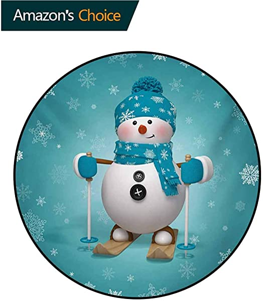 Snowman Modern Machine Washable Round Bath Mat Skiing With Ornate Snowflakes Winter Vacation Activity Fun Hob Non Slip Living Room Soft Floor Mat Diameter 35 Inch Turquoise White Pale Brown