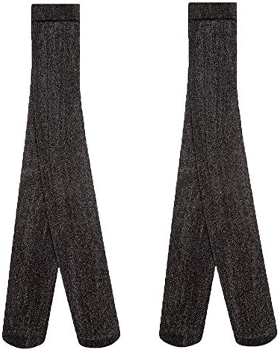 Country Kids Girls Stretchy Sparkly Glitter Party Tights, Pk of 2, Black,9-11Yrs