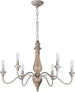 T&A 6 Light French Country Chandelier, Rust Arms Imitation Wood Finish Farmhouse Chandelier for Dining Room Kitchen Living Room