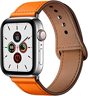 YALOCEA Compatible with Apple Watch Band 42mm 44mm, Genuine Leather Band Replacement Strap Compatible with iWatch Series 5 4 3 2 1 44mm 42mm, Orange