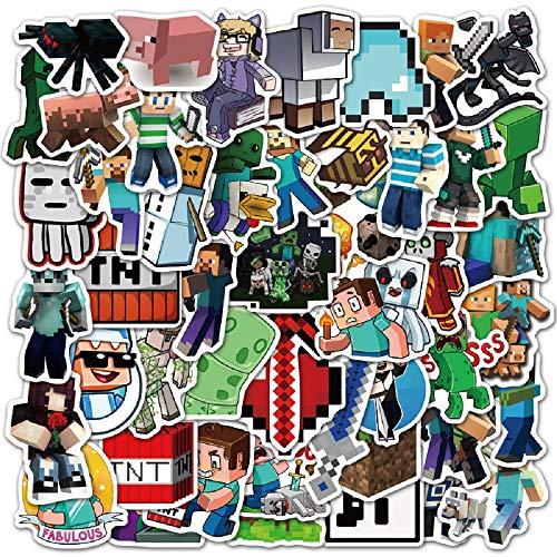 Huayao 50pcs Minecraft Aufkleber Vinyl wasserdichte Stickers für Laptop, Stoßstange, Wasserflaschen, Computer, Telefon, Schutzhelm, Autoaufkleber und Abziehbilder, Minecraft Aufkleber