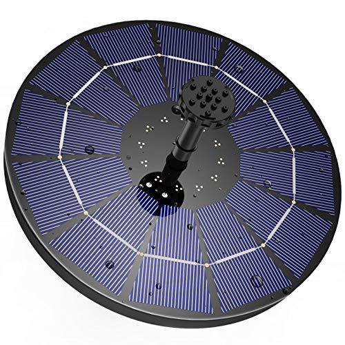 AISITIN Fuente solar con panel solar de 3,5 W, bomba solar para estanque integrada con batería de 1500 mAh, bomba de agua solar flotante con 6 estilos de fuente para jardín, baño de pájaros y peces.