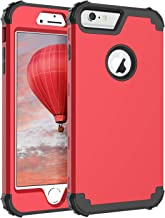 iPhone 6S Plus Case, iPhone 6 Plus Case, BENTOBEN 3 in 1 Hybrid Heavy Duty Rugged Hard PC Soft Silicone Bumper Shockproof Anti Slip Protective Case for Apple iPhone 6S Plus/6 Plus(5.5 Inch),Black/Red