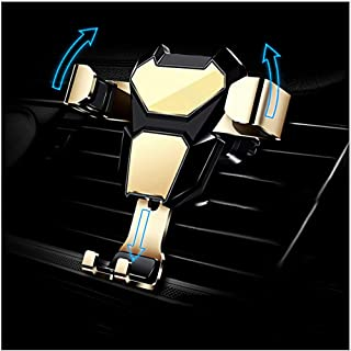 Sxmy Mobiltelefonhållare metall bilhållare luftuttag gravitation mobiltelefonhållare universellt fäste, guld