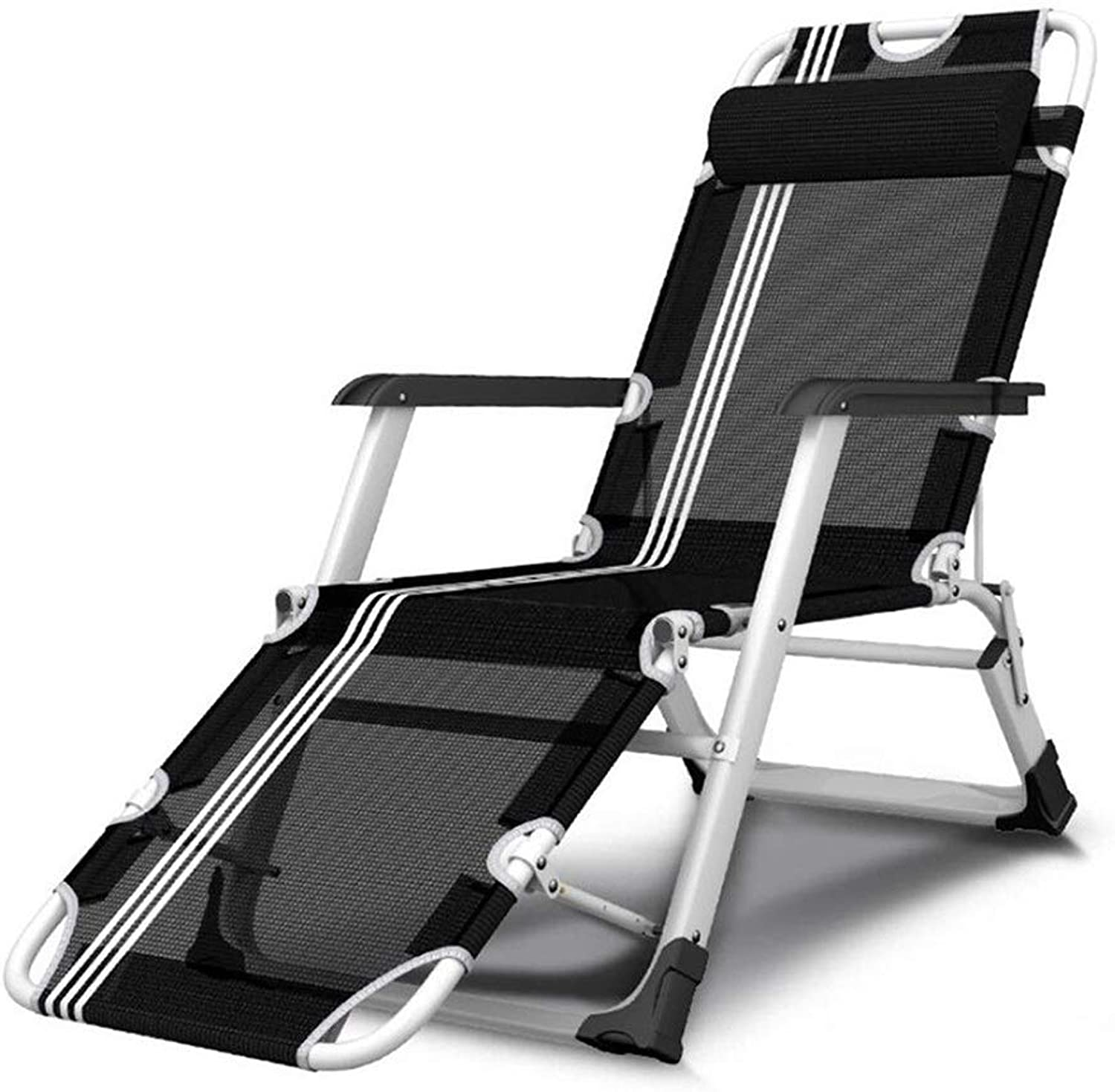 Rocking Lounger Sun Lounger Foldable Reclining Chair with Pillow and Detachable Cushion Garden Beach Outdoor Recliner Adjustable, Black (color   Chair),A