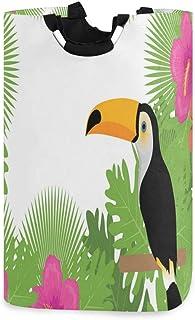 ZOMOY Grand Organiser Paniers pour Vêtements Stockage,Paysage Exotique de Plantes à Fleurs et d'oiseaux Toucan,Panier à Li...