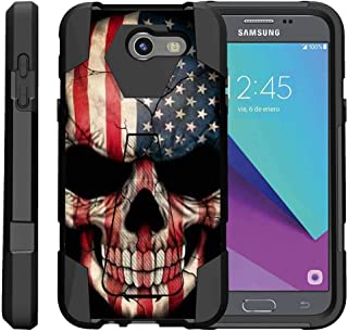 TurtleArmor | Compatible with Samsung Galaxy J3 Emerge Case | J3 (2017) [Dynamic Shell] Hybrid Dual Layer Hard Shell Kickstand Silicone Case - US Flag Skull