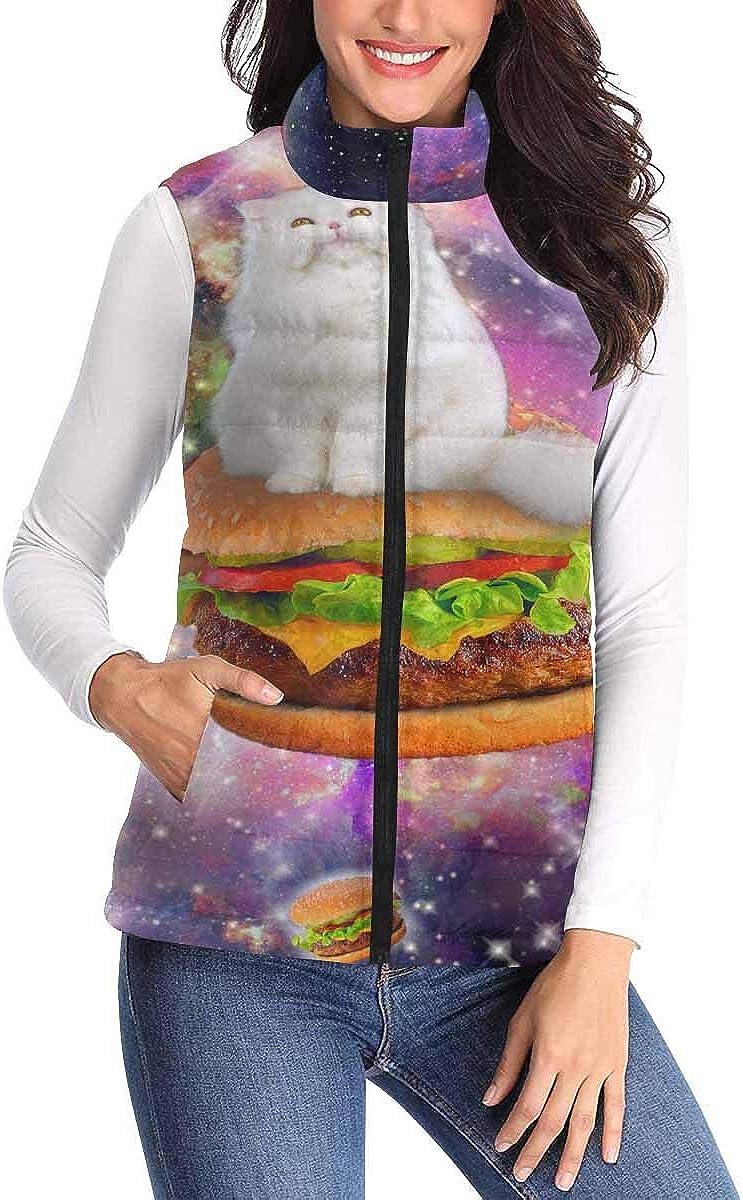 InterestPrint Women's Zip Vest Outerwear with Pockets Warm Sleeveless Vest Big Hamburger with Glaxy Space