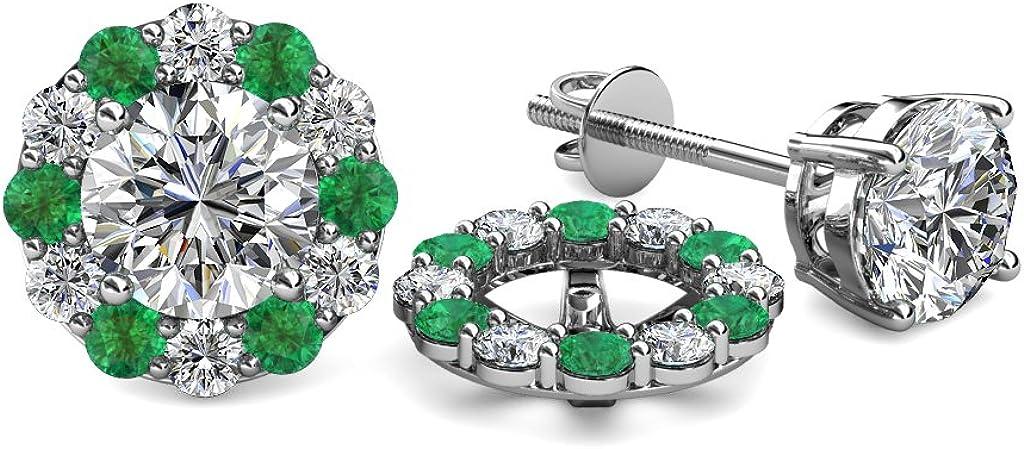 TriJewels Diamond and Emerald 0.71 Carat tw Women Halo Jackets for Stud Earrings in 14K White Gold
