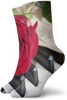 Cute Bi, Calcetines tobilleros con notas de piano de rosas rojas Calcetines casuales y acogedores para hombres, mujeres y niños