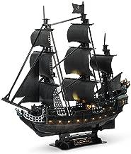 PUZZLEYM Caribe Negro Perla del Barco Pirata - Corte de Madera del Rompecabezas 3D Adult Model Kit Creativo Valentín Muchacho y Muchacha del cumpleaños / (Color : with Light)