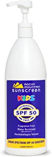Kids, Quart, SPF 50 - Rocky Mountain Sunscreen Lotion - Oxybenzone Free, No Octinoxate, Reef Friendly, Hypoallergenic, Water Resistant 80 Min, Gluten Free, Bulk