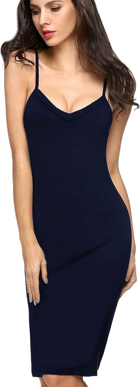 Avidlove Women Full Slips Sexy Chemise Nightgown V Neck Straight Dress Nightwear S-4XL