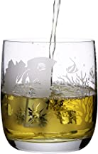 Crystal Whiskey Glass With Engraved Sea World Designs Set Of 2pcs With 2 Red Coasters