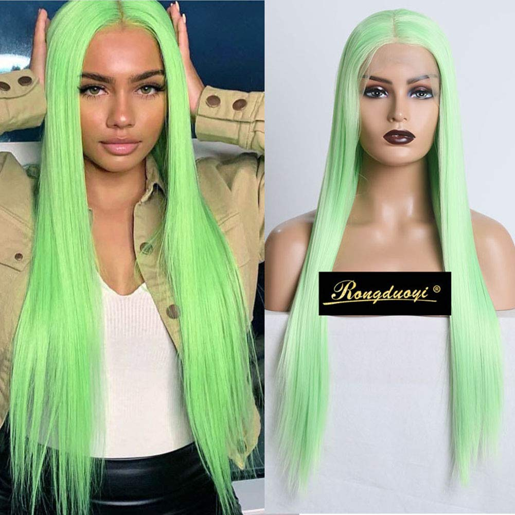 RDY Long Cheap Max 81% OFF SALE Start Silky Straight Wig Apple Front Green Synthetic Lace