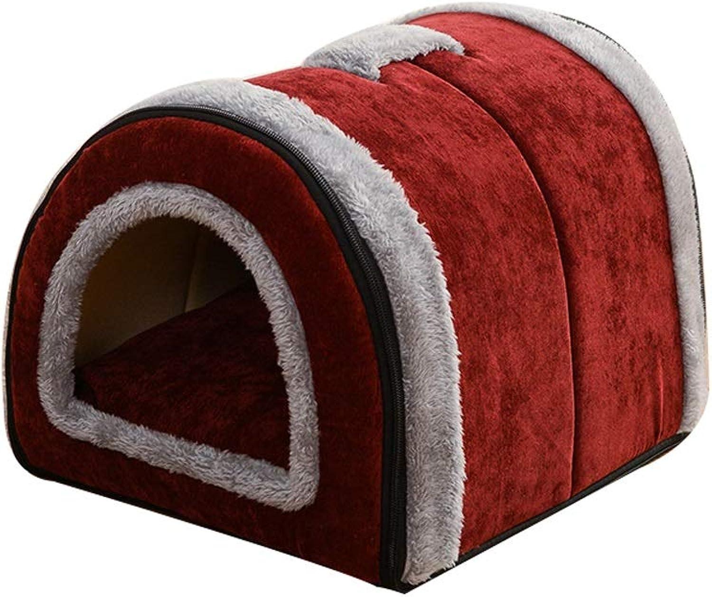 Pet house Pet Bed Nest Dual Use Washable Foldable Soft Warm Detachable Cushion For Dog Cat Puppy Rabbit Pet Bed Hole Y (color   D, Size   S)