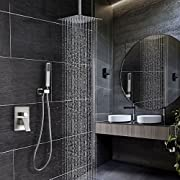 Esnbia Ceiling Shower System Brushed Nickel with High Pressure 12 Inch Rain Shower Head Shower Faucet Set