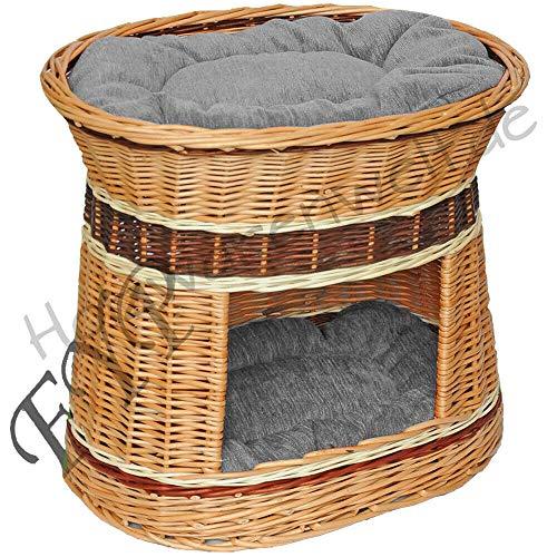 ForYourProtection Katzenkorb Katzenturm mit Kissen Weidenkorb Korbgeflecht Weide Kissen KTNT